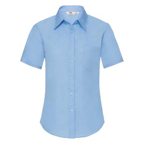LADIES POPLIN SHIRT SHORT SLEEVE, ženska košulja plava